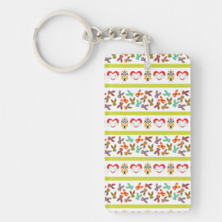 Psycho Easter Pattern colorful Double-Sided Rectangular Acrylic Keychain