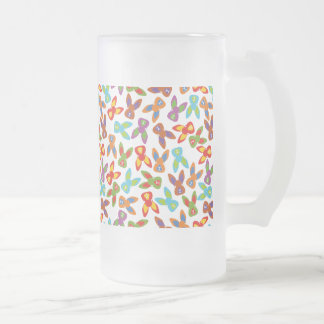 Psycho Easter Pattern colorful Frosted Glass Beer Mug