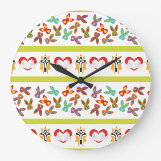 Psycho Easter Pattern colorful Large Clock