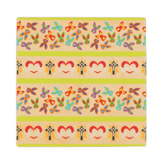 Psycho Easter Pattern colorful Maple Wood Coaster