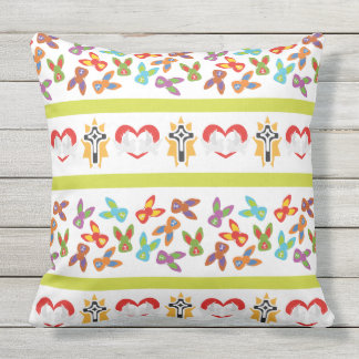 Psycho Easter Pattern colorful Outdoor Pillow