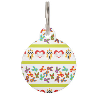 Psycho Easter Pattern colorful Pet ID Tag