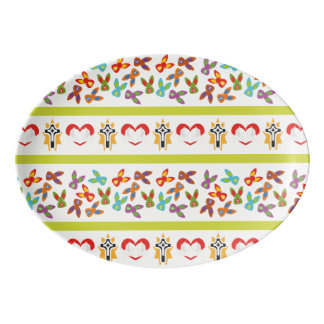 Psycho Easter Pattern colorful Porcelain Serving Platter