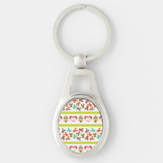 Psycho Easter Pattern colorful Silver-Colored Oval Keychain