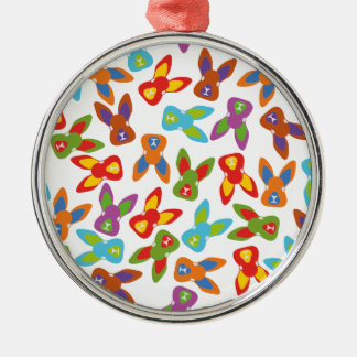 Psycho Easter Pattern colorful Silver-Colored Round Ornament