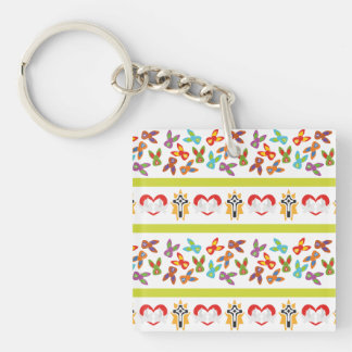 Psycho Easter Pattern colorful Single-Sided Square Acrylic Keychain