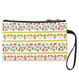 Psycho Easter Pattern colorful Suede Wristlet
