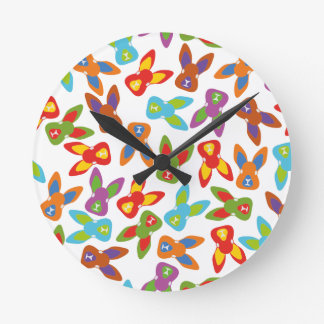Psycho Easter Pattern colorful Wall Clocks