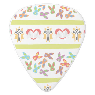 Psycho Easter Pattern colorful White Delrin Guitar Pick