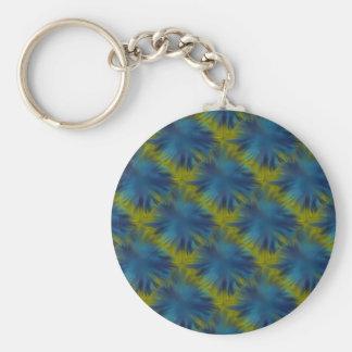 Psycho Rainbow Stars in blue green Retro ArtDeco Basic Round Button Keychain