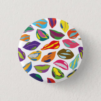 Psycho retro colorful pattern Lips 1 Inch Round Button
