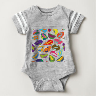 Psycho retro colorful pattern Lips Baby Bodysuit