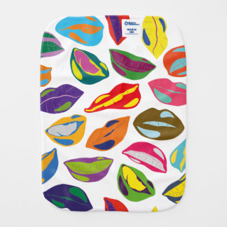 Psycho retro colorful pattern Lips Baby Burp Cloth