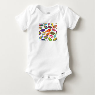 Psycho retro colorful pattern Lips Baby Onesie