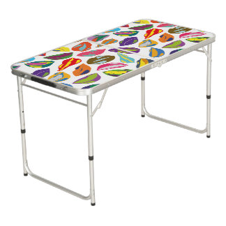 Psycho retro colorful pattern Lips Beer Pong Table