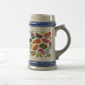 Psycho retro colorful pattern Lips Beer Stein