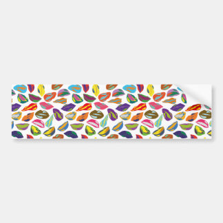 Psycho retro colorful pattern Lips Bumper Sticker