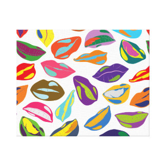 Psycho retro colorful pattern Lips Canvas Print