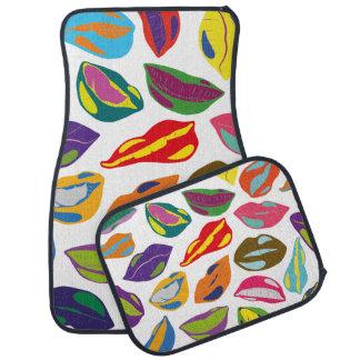 Psycho retro colorful pattern Lips Car Mat