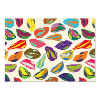 Psycho retro colorful pattern Lips Card