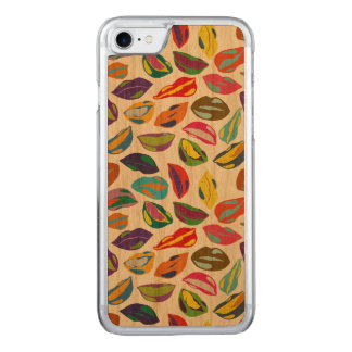 Psycho retro colorful pattern Lips Carved iPhone 8/7 Case