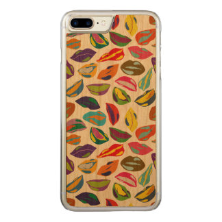 Psycho retro colorful pattern Lips Carved iPhone 8 Plus/7 Plus Case