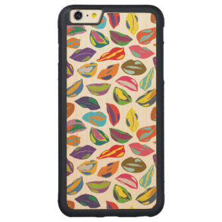 Psycho retro colorful pattern Lips Carved Maple iPhone 6 Plus Bumper Case