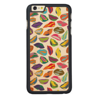Psycho retro colorful pattern Lips Carved Maple iPhone 6 Plus Case