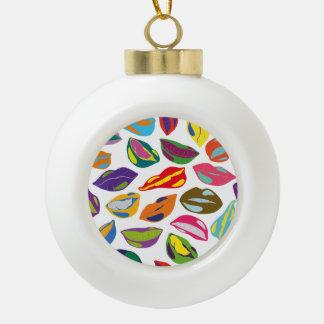 Psycho retro colorful pattern Lips Ceramic Ball Ornament
