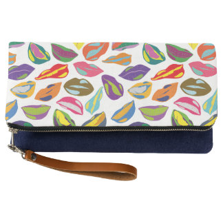 Psycho retro colorful pattern Lips Clutch