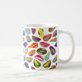 Psycho retro colorful pattern Lips Coffee Mug