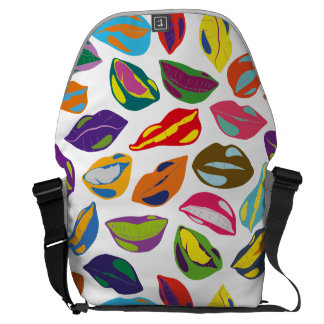Psycho retro colorful pattern Lips Commuter Bag