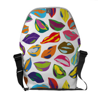 Psycho retro colorful pattern Lips Commuter Bags