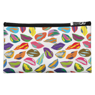 Psycho retro colorful pattern Lips Cosmetic Bags