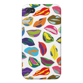 Psycho retro colorful pattern Lips Cover For iPhone 4