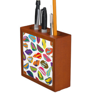 Psycho retro colorful pattern Lips Desk Organizer