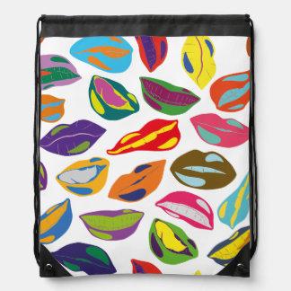 Psycho retro colorful pattern Lips Drawstring Bag