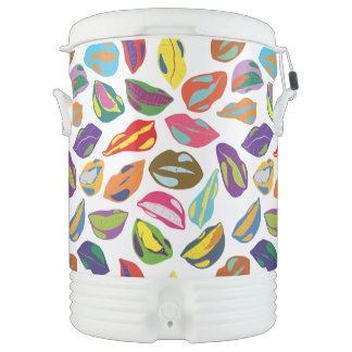 Psycho retro colorful pattern Lips Drinks Cooler
