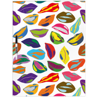 Psycho retro colorful pattern Lips Dry Erase Board
