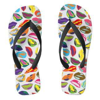 Psycho retro colorful pattern Lips Flip Flops
