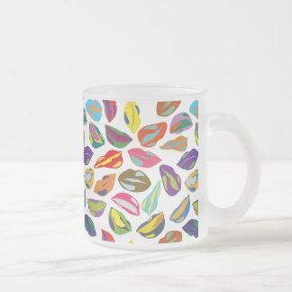 Psycho retro colorful pattern Lips Frosted Glass Coffee Mug