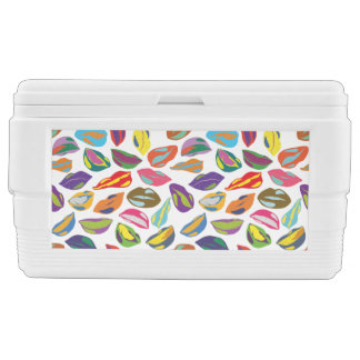 Psycho retro colorful pattern Lips Ice Chest