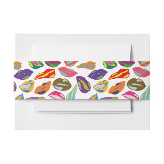Psycho retro colorful pattern Lips Invitation Belly Band