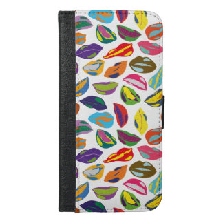 Psycho retro colorful pattern Lips iPhone 6/6s Plus Wallet Case