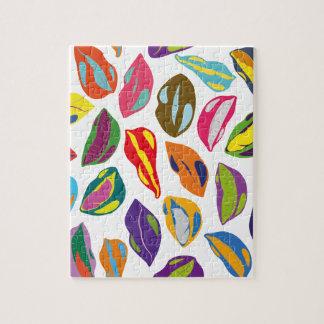 Psycho retro colorful pattern Lips Jigsaw Puzzle