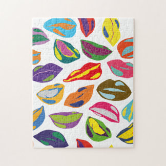 Psycho retro colorful pattern Lips Jigsaw Puzzle