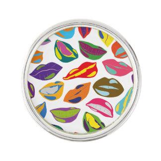 Psycho retro colorful pattern Lips Lapel Pin