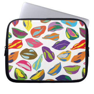 Psycho retro colorful pattern Lips Laptop Sleeve