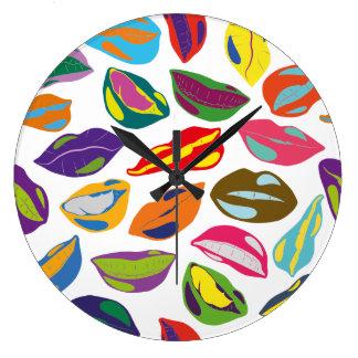 Psycho retro colorful pattern Lips Large Clock