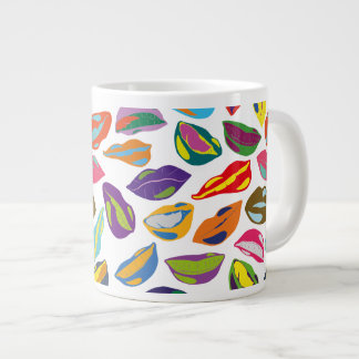Psycho retro colorful pattern Lips Large Coffee Mug